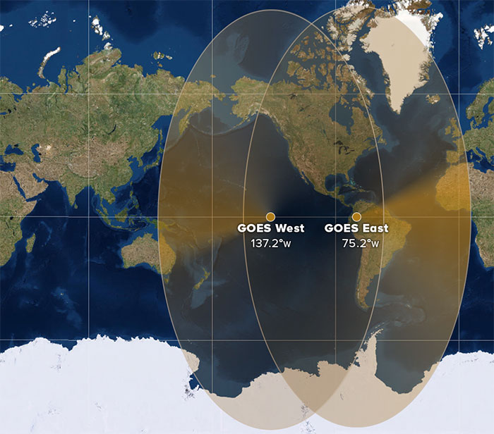 GGOES constellation coverage once GOES-17 is in position at 137.2 degrees west longitude.