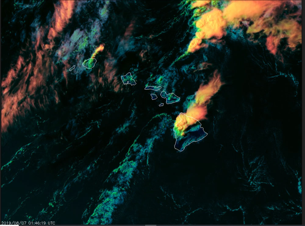 RGB imagery over Hawaii on August 7, 2019, captured by GOES-17 (GOES West)