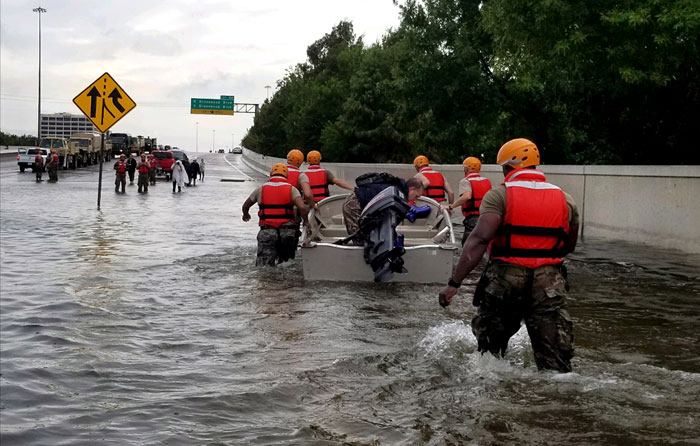 Texas National Guard soldiers arrive in Houston to aid residents in heavily flooded areas from the storms of Hurricane Harvey on August 27, 2017. Texas Army National Guard photo by 1st Lt. Zachary Wes