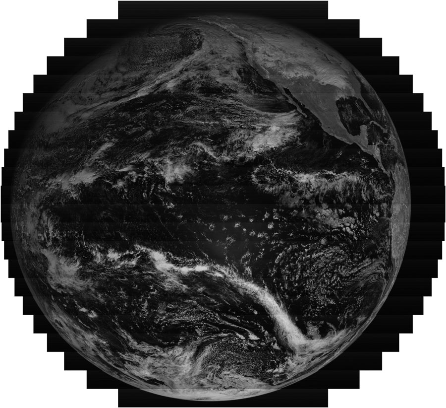 "GOES-17 raw, uncalibrated image swaths of the full disk from the ""red"" portion of the electromagnetic spectrum on December 15, 2019. Credit: NOAA"
