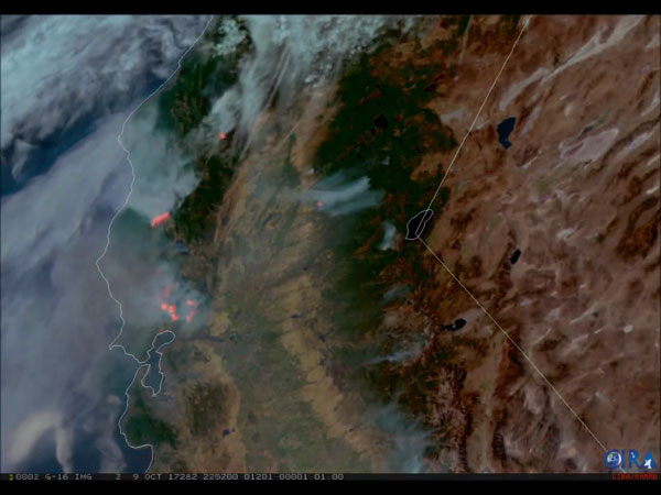 GOES-16 geocolor and fire temperature RGB imagery of fires raging in California