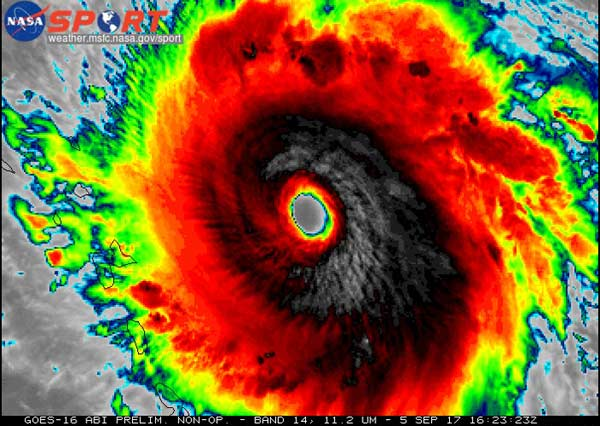 GOES-16 colorized infrared imagery of category 5 Hurricane Irma