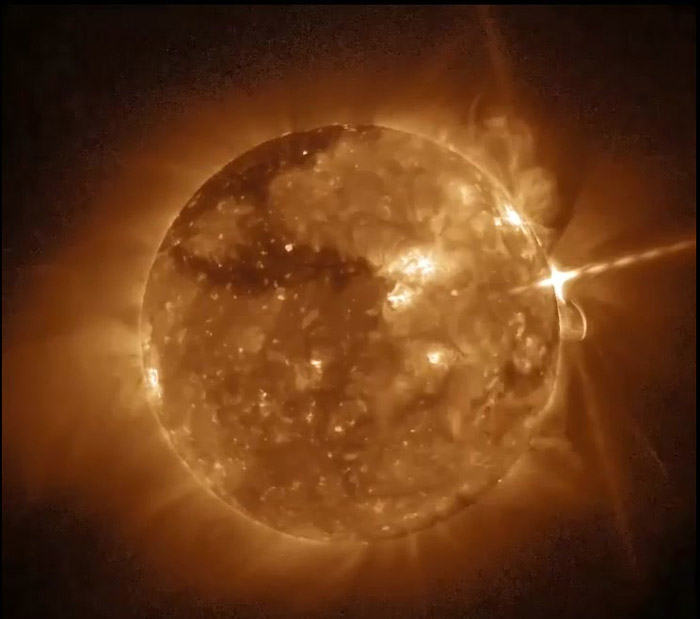 The GOES-16 SUVI captured a solar flare on September 10. Credit: NOAA