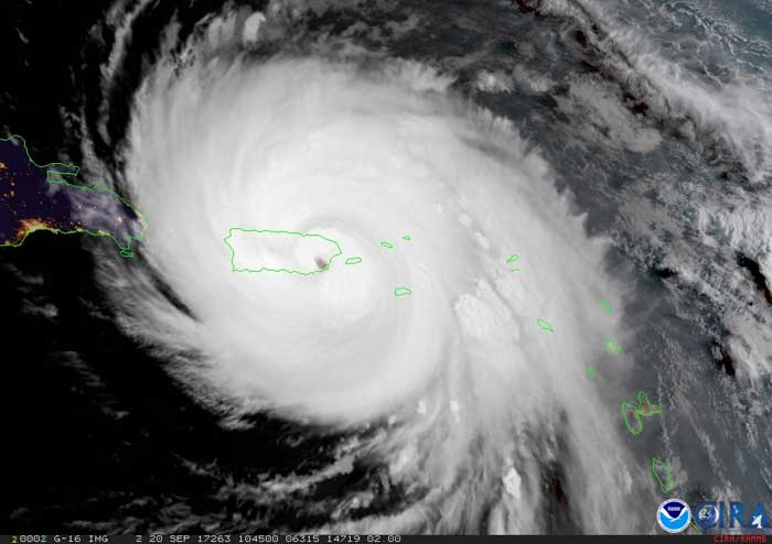 GOES-16 geocolor image of Hurricane Maria over Puerto Rico