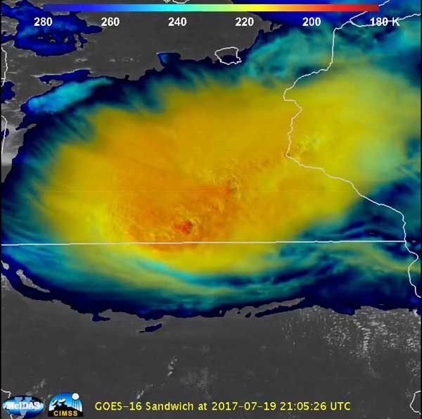 GOES-16 combined visible and infrared imagery of the July 19 derecho