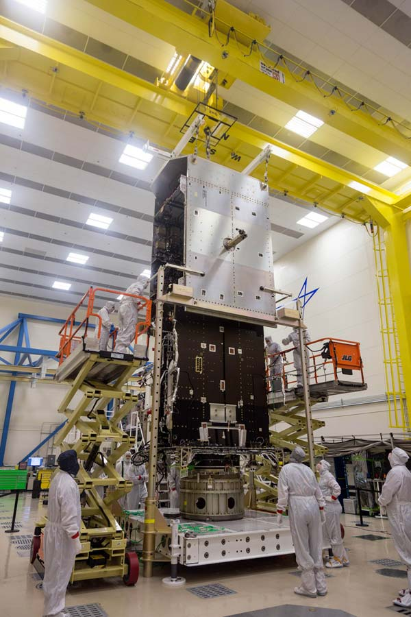 The GOES-T mate operation in progress at Lockheed Martin.