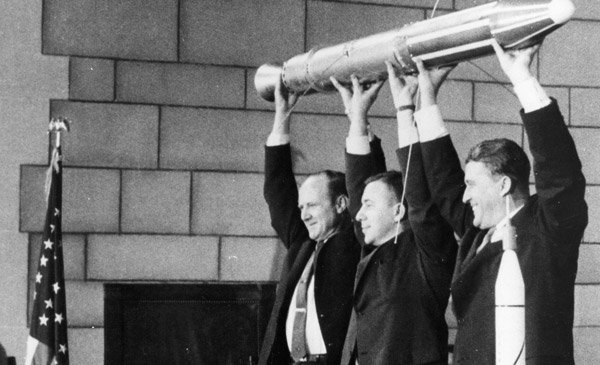 The three men behind the successful launch of Explorer 1 on January 31, 1958: Dr. William H. Pickering (left), Dr. James A. van Allen (center) and Dr. Wernher von Braun (right).
