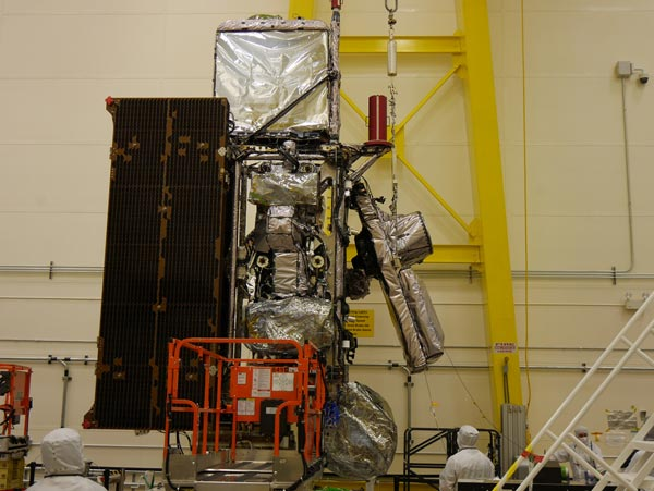 The GOES-S satellite in a clean room