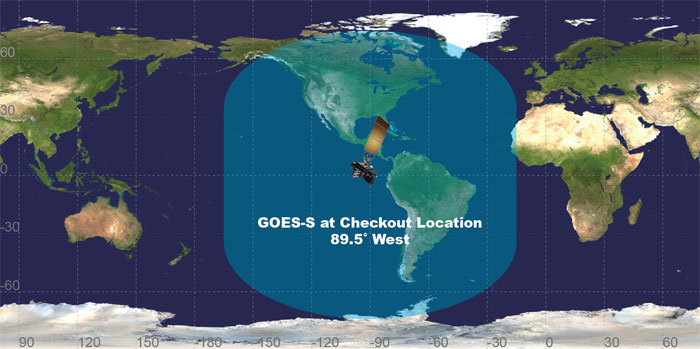 Image of GOES-S view of Earth from its checkout location
