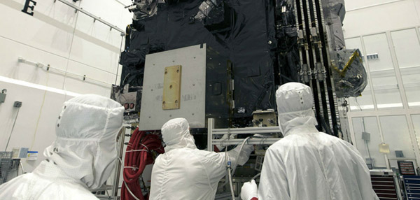 Engineers prepare GOES-S for launch