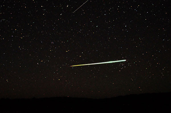 A large meteor bolts across the sky in Southern Australia on April 24, 2011.