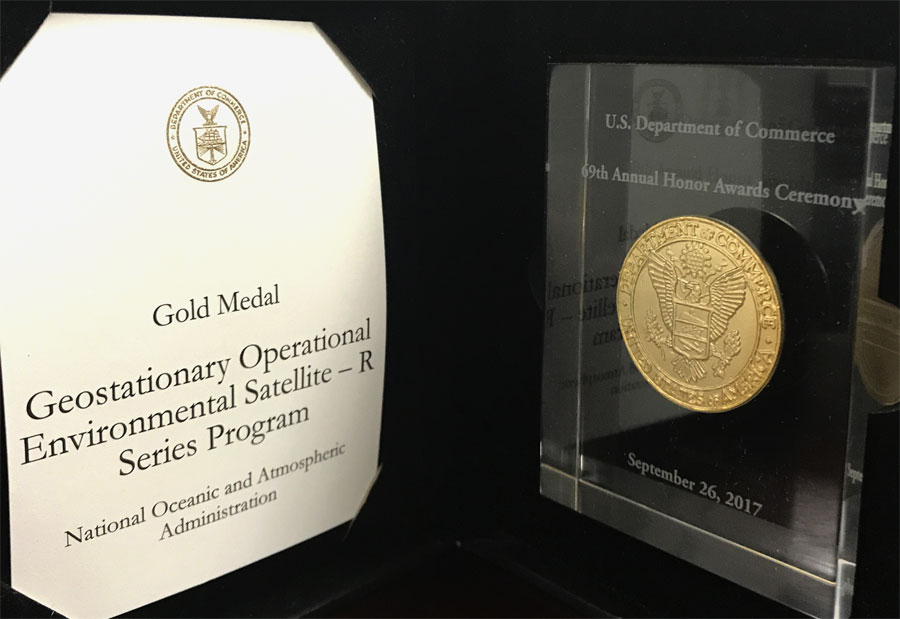 GOES-R Series Program Presented with Department of Commerce Gold Award