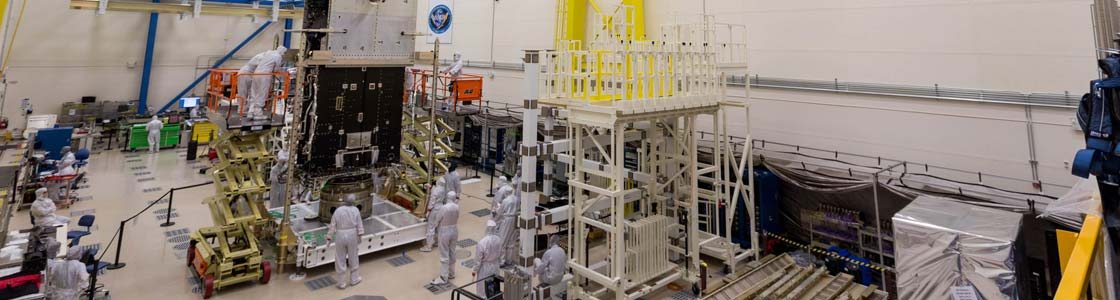 The GOES-T mate operation in progress at Lockheed Martin. Credit: Lockheed Martin
