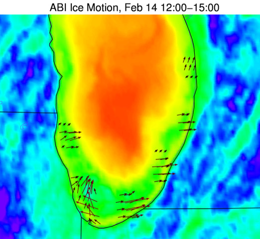 Ice along the southern Lake Michigan shoreline (denoted by arrows) contrasts with the warmer, unfrozen lake water in this GOES-16 infrared imagery. Using a pair of images three hours apart, the ice motion code detected strong eastern/northeastern motion along the lakeshore.